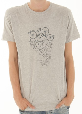 GREY BI-CYCLE PRINT T-SHIRT