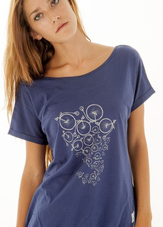 NAVY BLUE BI-CYCLE PRINT T-SHIRT