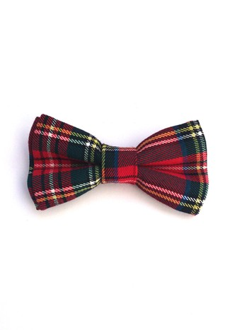 RED TARTAN SELF-TIE