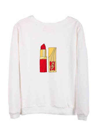 YSL LIPSTICK COTTON SWEATSHIRT