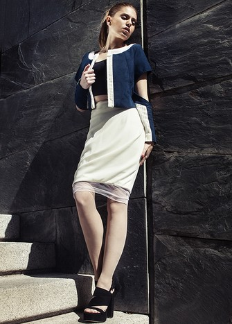 PENCIL SKIRT WITH DRAPE SIDE